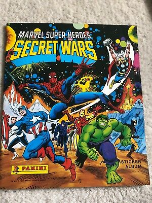 Panini Marvel Super Heroes Secret Wars Sticker Album With Some Stickers