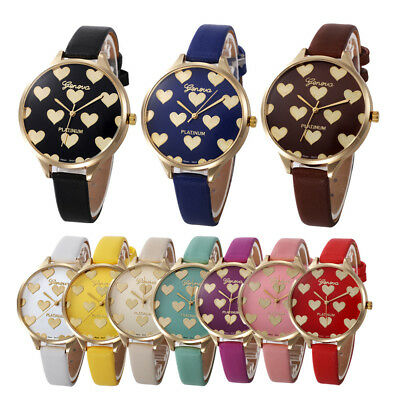 Women Fashion Casual Checkers Love Heart Faux Leather Quartz Analog Wrist Watch