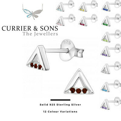 925 Sterling Silver Triangle with Birthstone Cubic Zirconia Stud Earrings