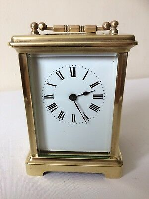 Antique French 8 Day Brass Carriage Mantel Clock Lever Escapement Working Order