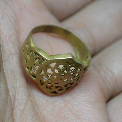 Viking Ancient Artifact Solid Bronze Open Work Ring Decorated - Rare - Wearable
