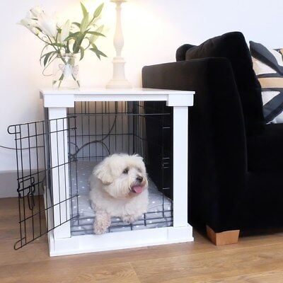 Lords & Labradors White Wooden Dog Crate Cover & Crate Combo