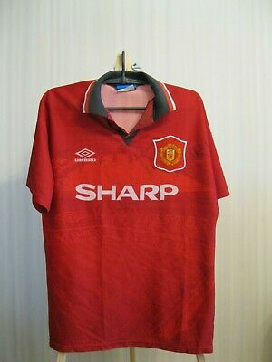 51baf7f77a SIGNED Manchester United 1994 1995 Home Sz M Umbro shirt jersey football  soccer