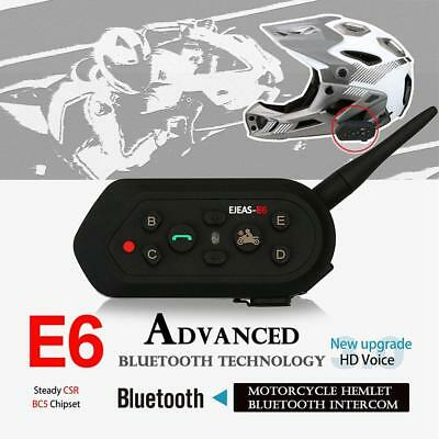 EJEAS E6 Motorcycle Helmet Headset Intercom Bluetooth Motorbike 1200m 6 Risers