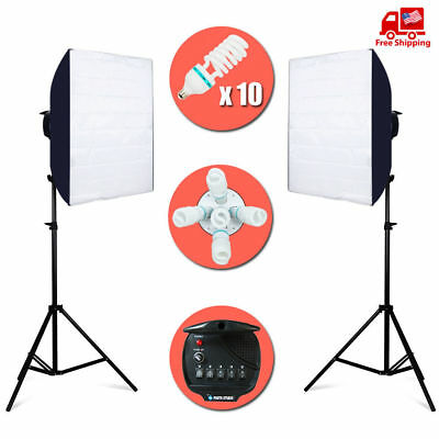Softbox Light Kit Photo Video Studio Photography Stand Continuous Lighting 2000W