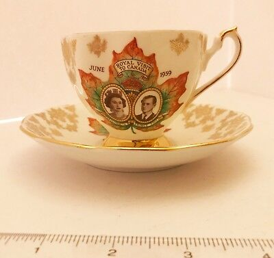 Vintage 1959 Queen Anne Bone China Royal Visit to Canada Teacup & Saucer