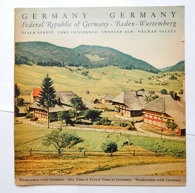 Black Forest, Neckar Valley... German Travel Guide w/Fold-Out Map (1954)