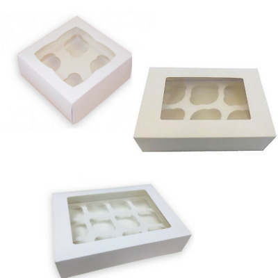 4, 6, 12 Hole Cupcake Fairy cake Muffin boxes clear Window 3 Inch Deep