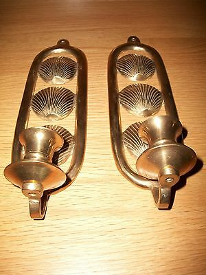Vintage Set of Brass Wall Sconces to Hold Candles, Beachy Seashell Design Inside