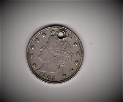 Scarce Date 1883 With Cents Rev.v Nickel Solid Liberty Holed Free Shipping