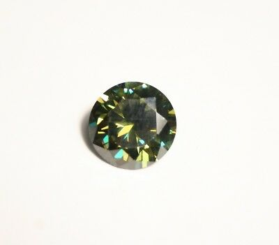 2ct Deep Green Moissanite Round - Beautiful Precision Cut Gem