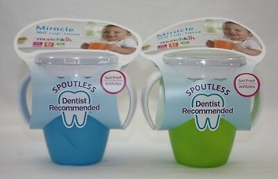 Munchkin Miracle 360 Blue Green Spoutless Spill Proof Sippy Drinking Cup NEW