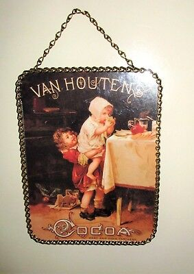 """Gallery Graphics,Flue Cover,8""""x6"""" Chain Frame,Early 1900's Van Houten's Cocoa Ad"""
