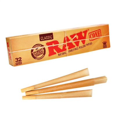 RAW Classic Cones - 32 Pre Rolled Kingsize Cones | RYO Blunt + Tips