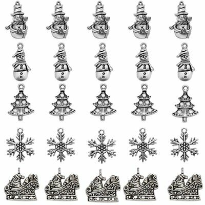 5pcs Tibetan Silver Christmas Charms Pendants Findings Bracelet Jewelry Making