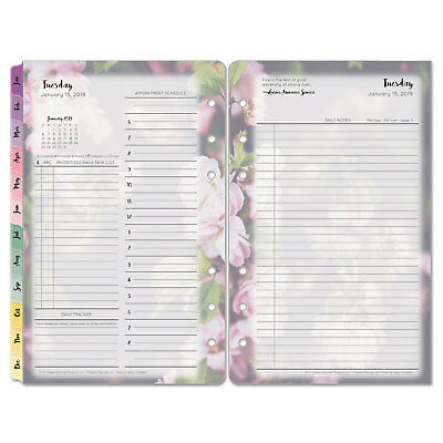 Franklin Covey Blooms Dated Daily Planner Refill January-December 4 3/4 x 6 3/4