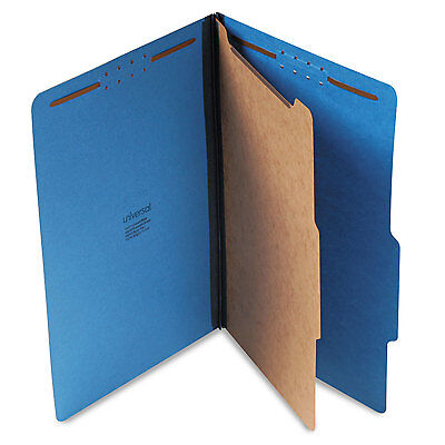 UNIVERSAL Pressboard Classification Folders Legal Four-Section Cobalt Blue 10