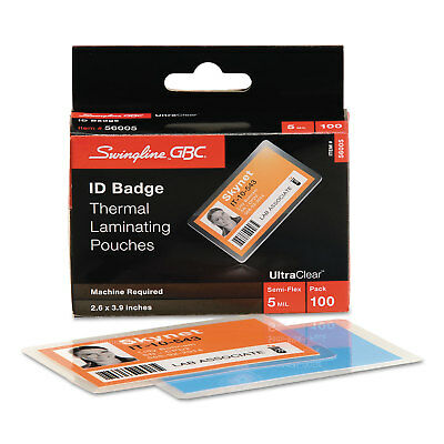 Swingline UltraClear Thermal Laminating Pouch ID Badge 5mil 2 5/8 x 3 7/8 100