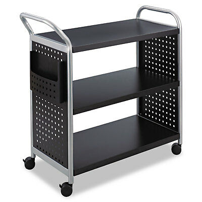 Safco Scoot Three-Shelf Utility Cart 31w x 18d x 38h Black/Silver 5339BL