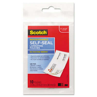 Scotch Self-Sealing Laminating Pouches 9 mil 3 4/5 x 2 2/5 Business Card Size 10
