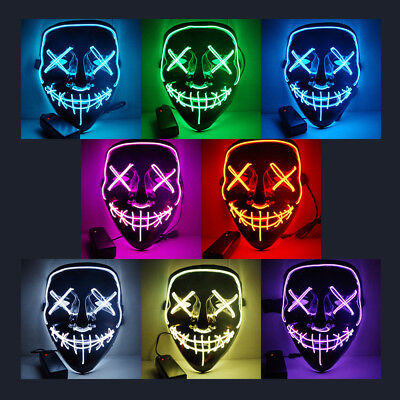 Masques lumineux LED (The Purge), one size, Halloween Festivals Cosplay
