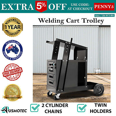 Welding Cart Trolley 4 Lockable Drawer Cutter Workshop Tool Bench Storage Black