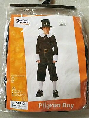O NEW Child California Costume Pilgrim Boy Halloween Costume Size M