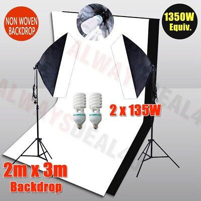 Photography Screen 2 Backdrops Studio Softbox Lighting Soft Box Light Stand Kit