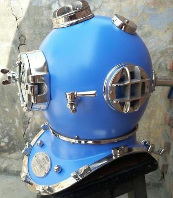 Divers Marine Vintage Helmet Blue COLLECTIBLE DECOR AND STYLE STORE Navy Mark V