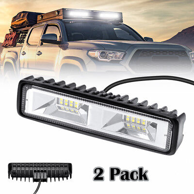2X 6 inch 48W 16LED Work Light Flood Beam Bar Car SUV OffRoad Driving Fog Lamps