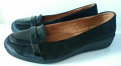 FITFLOP F-POP LOAFERS BLACK PATENT SHOES UK Size 7 EU 41