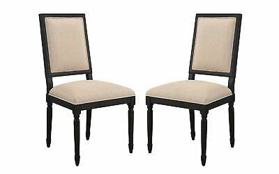 2 PC Vintage Classic Kitchen Dining Chairs (Black/Beige)