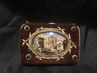 Antique 1800's Velvet Reverse Painted Coin Purse Wallet London Paris French