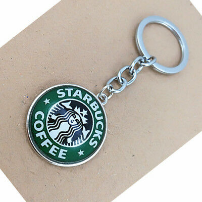 Starbucks Photo Cabochon Glass Tibet Silver  Pendant   Keyring