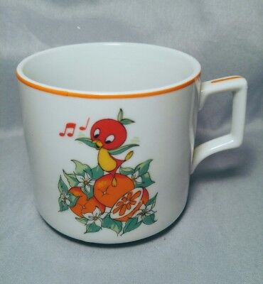 Walt Disney Productions Florida Orange Bird Coffee Mug Japan Vintage Rare