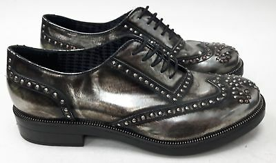 KARL LAGERFELD Unisex Lace Up Metallic Silver Distressed Shoes UK Mens 7 #143