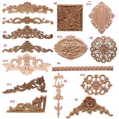 Wooden Carved Decals Appliques Frame Wall Doors Decoration Figurines 15 Styles