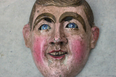 Mexico/Guatemala Catrine Mask -Dandy- Glass Eyes Vtg/Antique Carved Wood Santos