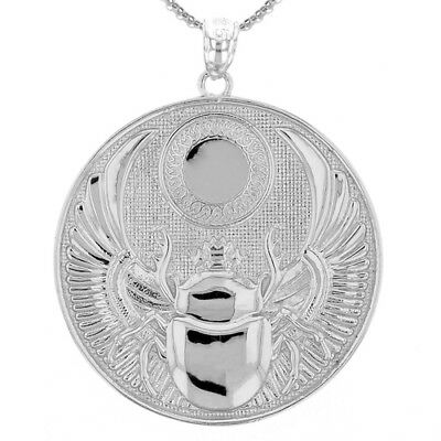 Solid 10k White Gold Ancient Egyptian Scarab Beetle Pendant Necklace
