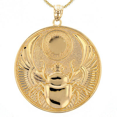 Solid 14k Yellow Gold Ancient Egyptian Scarab Beetle Pendant Necklace