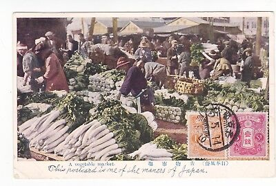 postcard from 1926 Japan describing local market