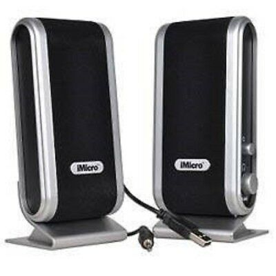 iMicro Black/Silver 2-Piece 2 Channel USB Multimedia Speaker Set w/ Headset Jack