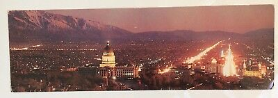 Vintage 1960s Salt Lake City At Night Color Photograph Postcard Panorama