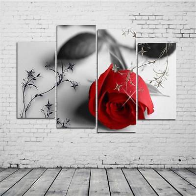 4 pcs Modern Huge Wall Art Oil Painting On Canvas Red Rose Unframed Room Decor