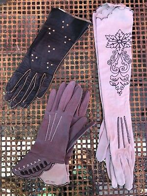 Bulk Lot of 3 Pairs of Women's Vintage Embroidered Gloves