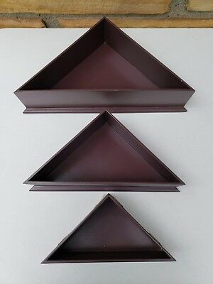 Set of 3 Triangle Shelves| used| good condition| dark brown|