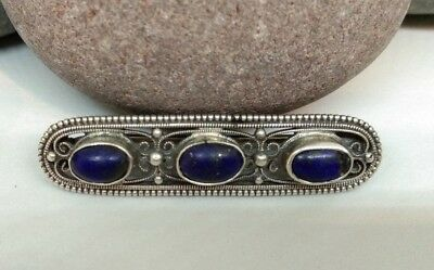 Solid Silver Lapis 1900's Brooch