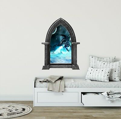 Ice Dragon #1 Castle Scape Wall Decal Window Fairytale Fantasy Game of Thrones