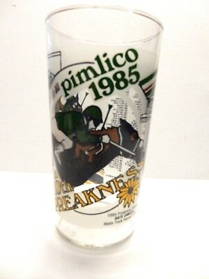 Vintage 1985 PREAKNESS PIMLICO  Horse Racing Glass    EUC
