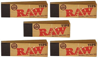 5x AUTHENTIC RAW Rolling Paper Tips Filter Spacer (50 Sheets per pk)